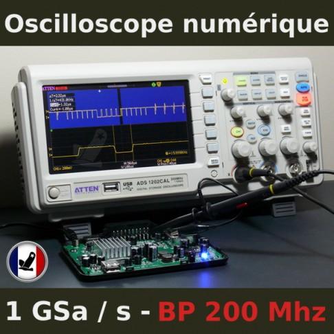 Oscilloscope numérique 200 Mhz 2 voies 40 K échantillons ADS1202CAL