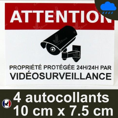 Lot de 4 autocollants vidéosurveillance